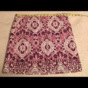 Loft purple paisley pattern skirt size 6